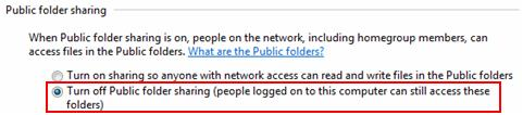Windows 7 - turn off public folder sharing