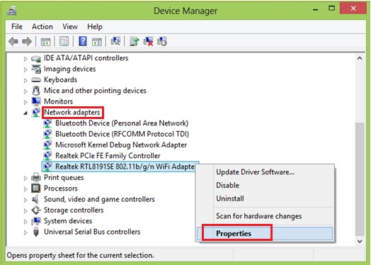 win8 network adapter properties