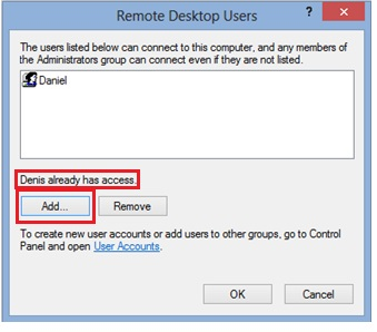Win8 remote desktop users
