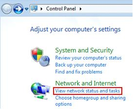 how to view network status and tasks in Windows 7