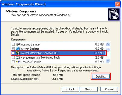 Windows Components Wizard in XP