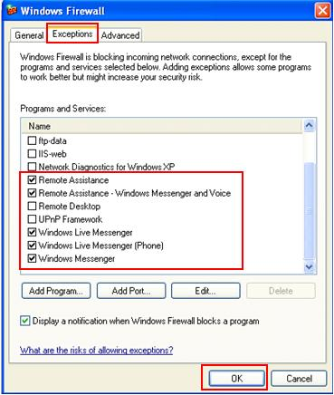 Windows Firewall Exception for Live Messenger Remote Assistance