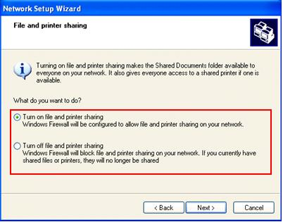 Wizard Set File Printer Sharing
