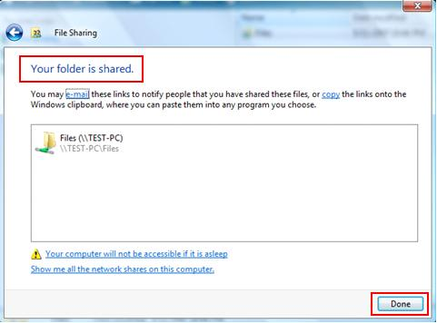 Your folder is shared - successful simple file sharing in Windows Vista
